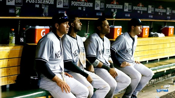 New York Yankees bench, including Alex Rodriguez