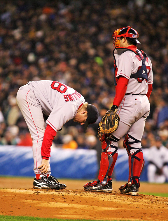 Jason Varitek and Curt Schilling during the 2004 bloody sock game