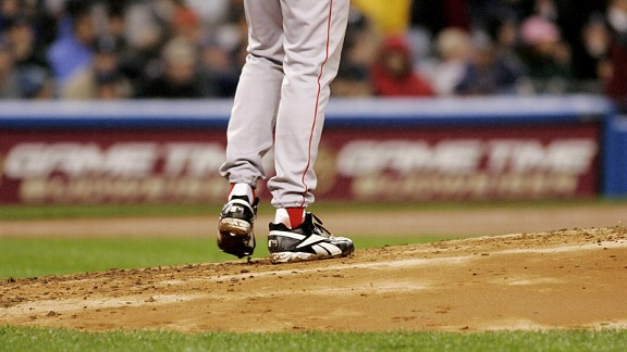 Curt Schilling during the bloody sock game in 2004 with the Boston Red Sox