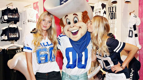 The Victoria's Secret PINK store at Dallas Cowboys Stadium caters to female clientele by providing them with Cowboys gear tailored to a woman's physique.