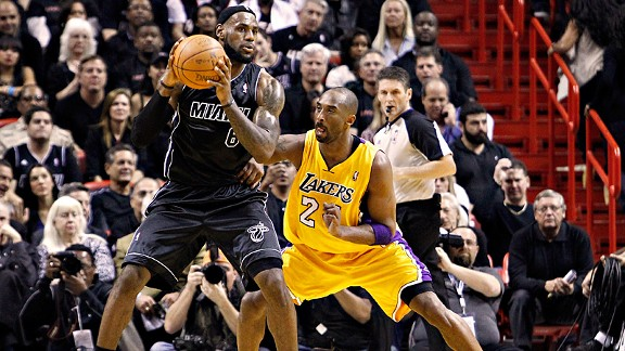 The Lakers' Kobe Bryant, right, and the Heat's LeBron James look to be on a collision course in a battle for the NBA title.