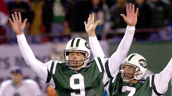 John Hall after the winning field goal against the Miami Dolphins in 2000