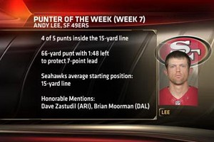 ESPN San Francisco punter Andy Lee had a huge game against NFC West