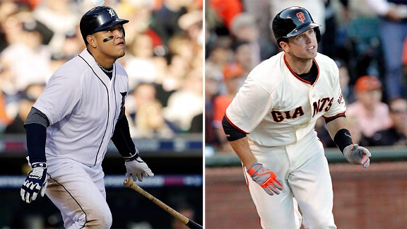 Miguel Cabrera and Buster Posey during the 2012 MLB season