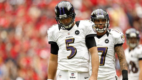 Joe Flacco during the Baltimore Ravens' loss to the Houston Texans