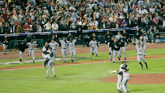 Chicago White Sox celebrate against the Houston Astros in the 2005 World Series