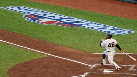 Pablo Sandoval during his 3 home run game against the Detroit Tigers in the World Series
