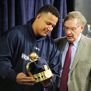 Miguel Cabrera (left) was honored by MLB commissioner Bud Selig before Game 3 of the World Series on Saturday night for his Triple Crown win.