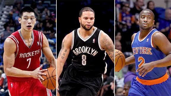 Jeremy Lin, Deron Williams and Raymond Felton