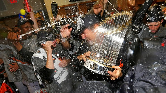 Bruce Bochy after the San Francisco Giants won the World Series