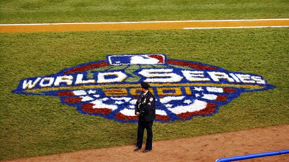 A New York City police officer at Yankee Stadium during the 2001 World Series