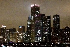 The view from the boat between Harry Caray's Tavern at Navy Pier and Soldier Field.