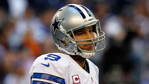 Tony Romo during the Dallas Cowboys' loss to the New York Giants