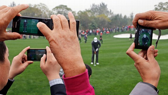 Tiger Woods in Zhengzhou, China, during an exhibition against Rory McIlroy