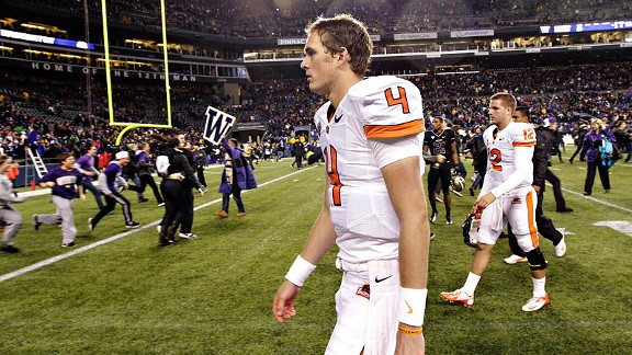 Sean Mannion of the Oregon State Beavers after a loss to the Washington Huskies