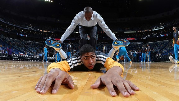 Anthony Davis before his debut with the New Orleans Hornets against the San Antonio Spurs