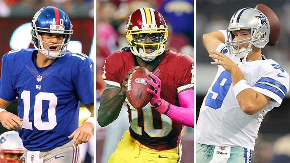 Eli Manning,  Robert Griffin III and Tony Romo