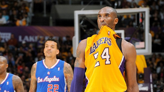 Kobe Bryant of the Los Angeles Lakers against the Clippers