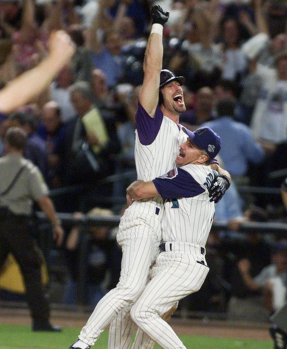 The Arizona Diamondbacks celebrate beating the New York Yankees in the 2001 World Series