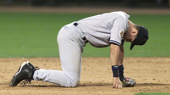 Derek Jeter after the New York Yankees lost the 2001 World Series to the Arizona Diamondbacks.