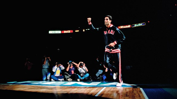 Rony Seikaly with the Miami Heat at the franchise's first game