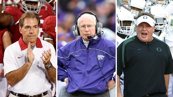 Nick Saban, Bill Snyder and Chip Kelly