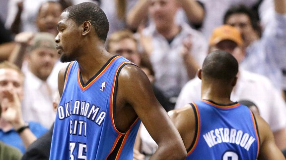 Kevin Durant and Russell Westbrook after losing to the San Antonio Spurs