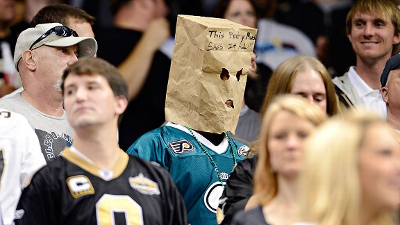A Philadelphia Eagles fan during the New Orleans Saints game