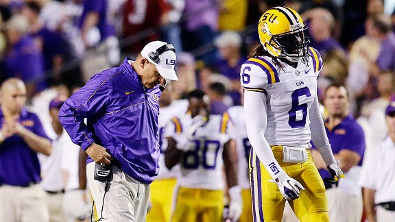 Les Miles after the LSU Tigers' loss to the Alabama Crimson Tide