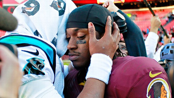 Robert Griffin III and Cam Newton after losing to the Carolina Panthers