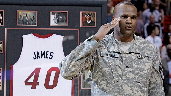 Tim James, being honored by the Miami Heat for his military service