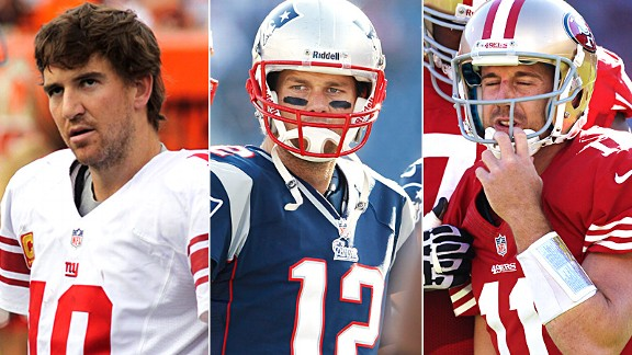 Eli Manning, Tom Brady, Alex Smith