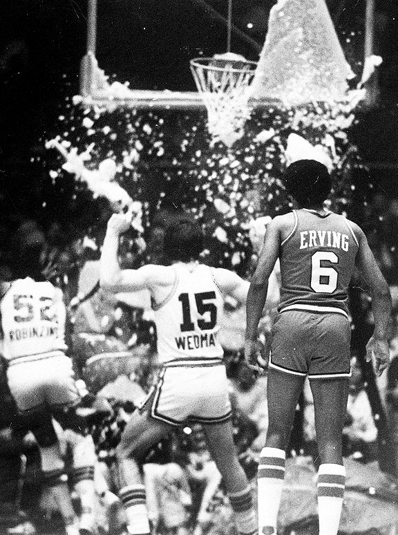 Darryl Dawkins shattering his first backboard while with the Philadelphia 76ers