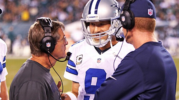 Tony Romo and Jason Garrett