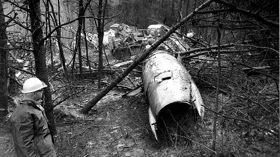 Wreckage from the Marshall University football team plane crash in 1970