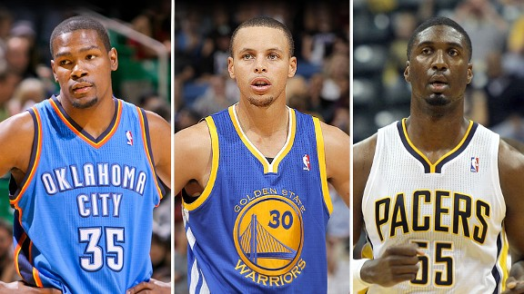Kevin Durant, Stephen Curry and Roy Hibber