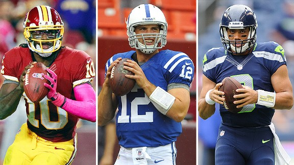 Robert Griffin III, Andrew Luck and Russell Wilson