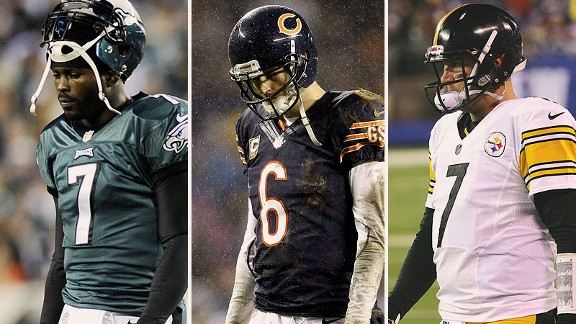 Michael Vick, Jay Cutler and Ben Roethlisberger