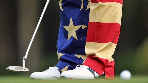 John Daly and his Stars and Stripes pants at the Hong Kong Open