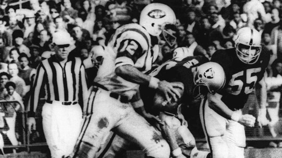 Joe Namath, during the 1968 game between the New York Jets and Oakland Raiders -- the Heidi Game