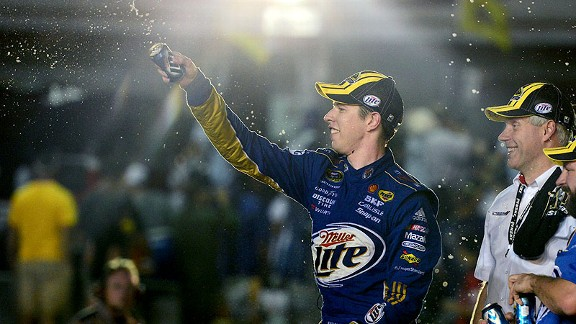 Brad Keselowski celebrating his NASCAR Sprint Cup Series championship at Homestead-Miami Speedway