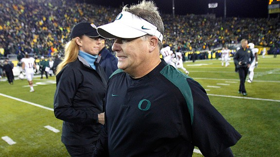 Chip Kelly and the Oregon Ducks after losing to the Stanford Cardinal