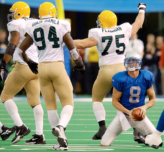 Mike McMahon with the Detroit Lions against the Green Bay Packers
