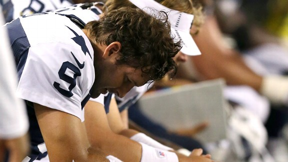 Tony Romo during the Dallas Cowboys' Thanksgiving loss to Washington