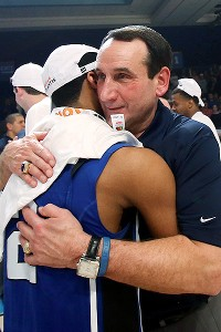 Mike Krzyzewski and Quinn Cook