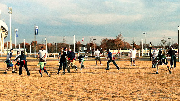A blue sky greeted the Thompson family for their annual Thanksgiving flag football game.