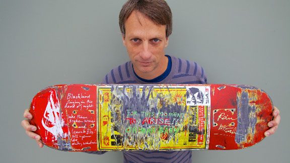 Paul McCartney wrote the lyrics to The Beatles' Blackbird and signed Tony Hawk's personal skateboard as part of the Hawk Foundation auction.