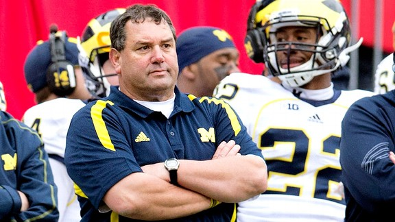 Brady Hoke and the Michigan Wolverines against the Ohio State Buckeyes
