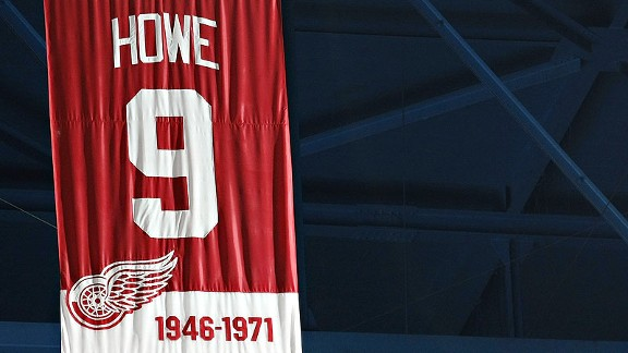 The Gordie Howe banner at Joe Louis Arena in Detroit.