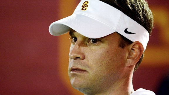Lane Kiffin during his USC Trojans' loss to the Notre Dame Fighting Irish